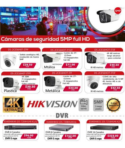 Camaras Varifocales De 40m Hikvision Domo Y Tubo Metalicas