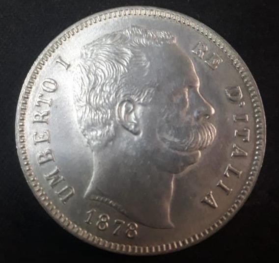 Moneda Italiana De Plata 1878 De 5 Liras
