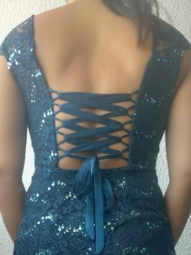 Vestido De Festa Azul Rendado Tamanho M