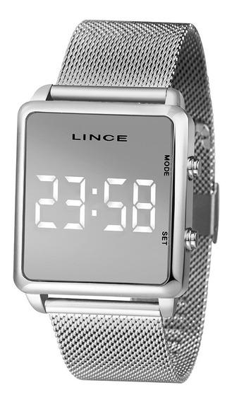 Relógio Lince Unissex Quadrado Led Prata Espelhado Mdm4619l