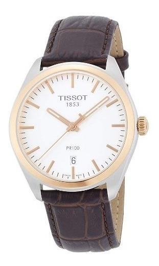 Relógio Tissot Masculino Pr100 Marrom/prata Original Suíço
