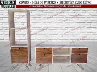 Combo Biblioteca Cubo + Mesa De Tv Retro Patinado Combinado