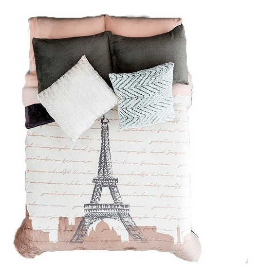 Cobertor Invernal King Size Xl Torre Eiffel Blanco Vianney