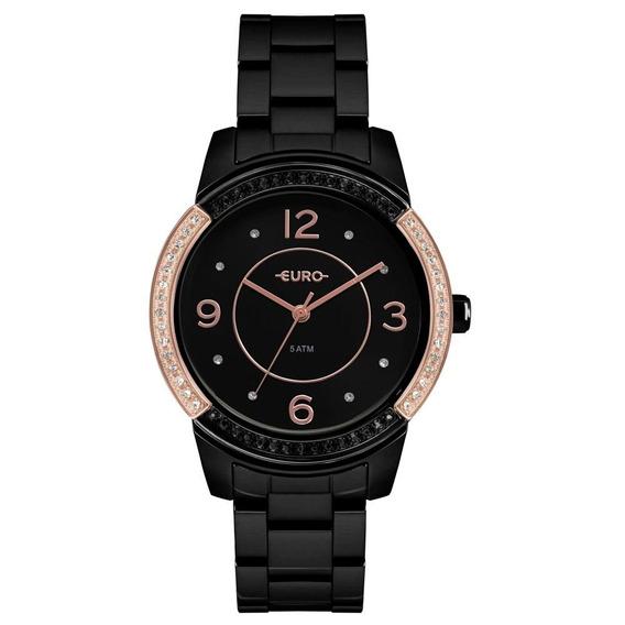 Relógio Feminino Euro Eu2036ymq/4p 40mm Aço Preto
