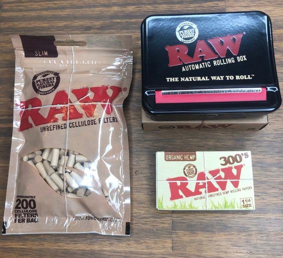 Combo Fumador Raw Maquina Armar Auto + 300papel+ 200 Filtros