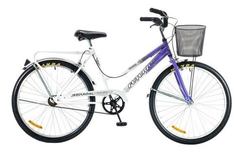 Bicicleta paseo femenina Futura Country R26 frenos v-brakes color violeta/blanco