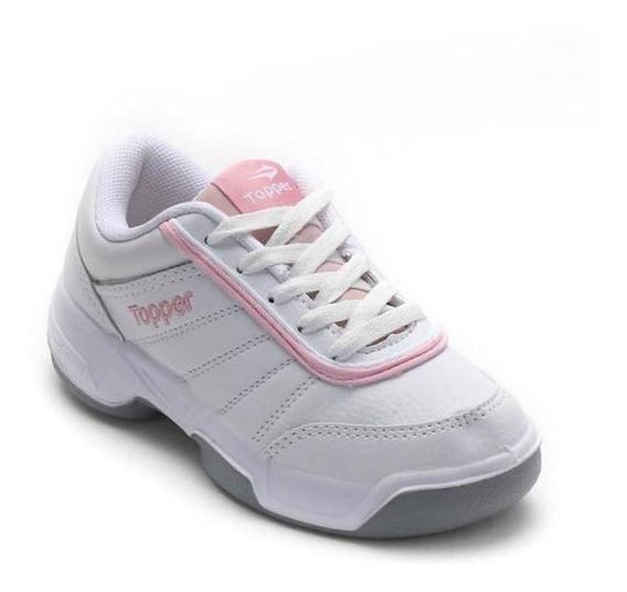 Zapatillas Topper Colegial Blanco Rosa Tie Break Nena