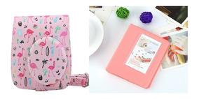 Bolsa Couro Sint Instax Mini Flamingo Rosa + Albúm 64 Fotos