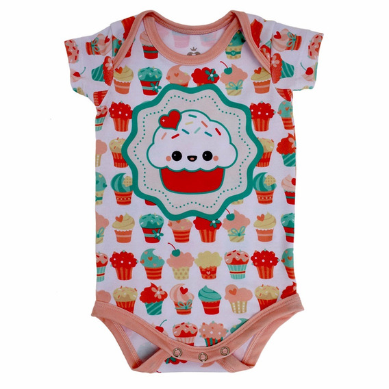 Body Bebê Estampado Manga Curta Cupcake - Isabb