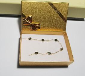 Pulseira Feminina Ouro 18 K Pedras Brilhantes Presente 02247