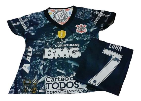 Mini Baby Look Corinthians Blusinha Camiseta Luan 7 Feminina