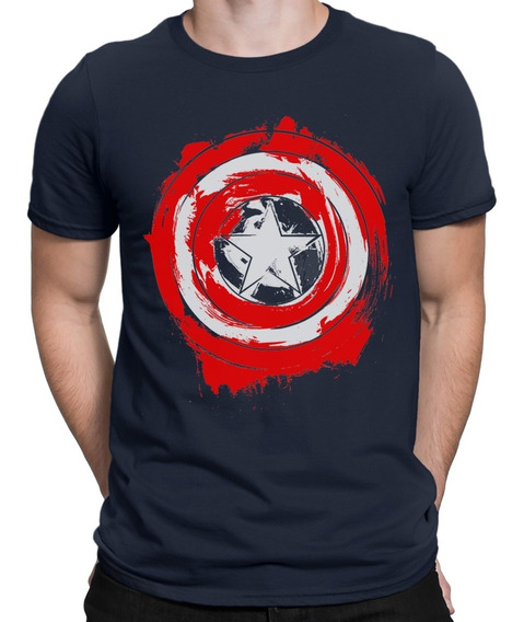 Camisas Camisetas Escudo Capitão América Desgastada Heróis