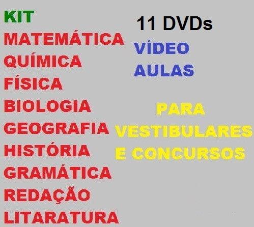 Kit 11 Dvds Vídeo Aulas Para Vestibulares E Concursos Ç1c