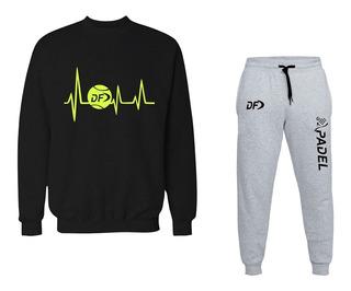 Buzo Electro Negro + Pantalon Padel Gris Conjunto Deportivo