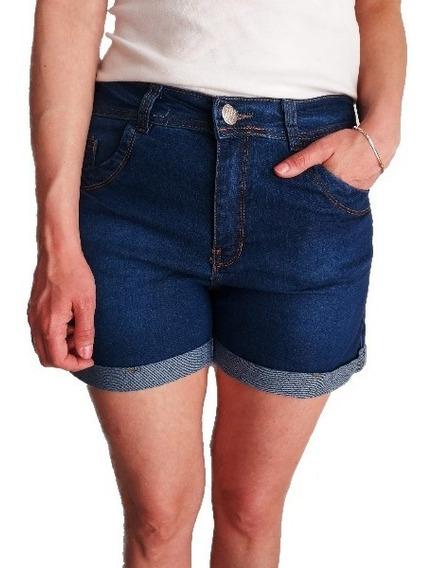 Short Jean Azul Elastizado Tiro Alto Dobladillo Talle Grande