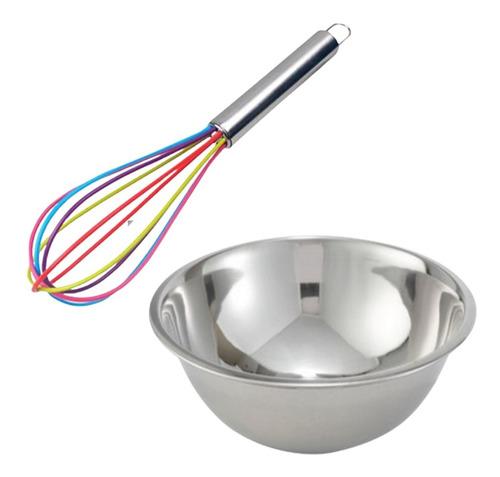 Imagen 1 de 4 de Set Reposteria Bowl De Acero Inox + Batidor Silicona Cocina