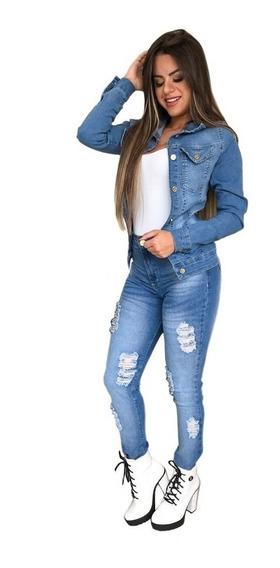 Jaqueta Jeans Feminina Com Lycra Clara Inverno