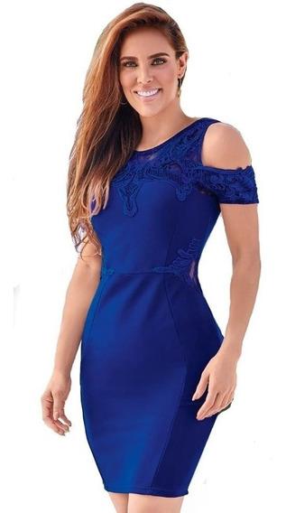 Cklass Vestido Dama Con Encaje Azul Rey 989-26 Msi