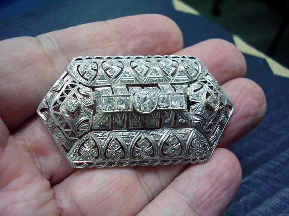 Broche Antigo Em Platina Com Diamantes Naturais ...