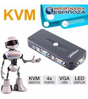 Switch Kvm Usb Vga 4 Puertos Kvm Pc Laptop Ordenadores