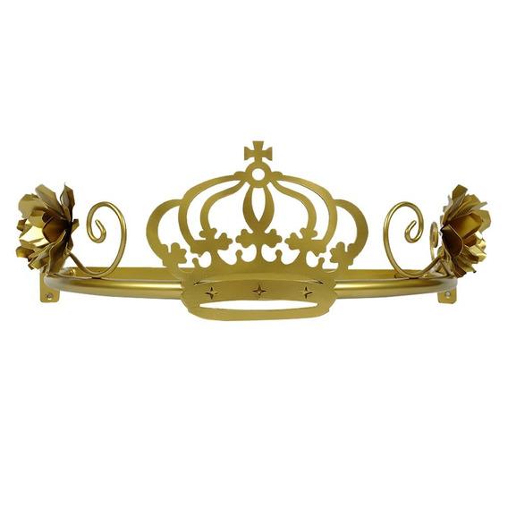 Dossel Coroa Com Flor Babykinha Dourado