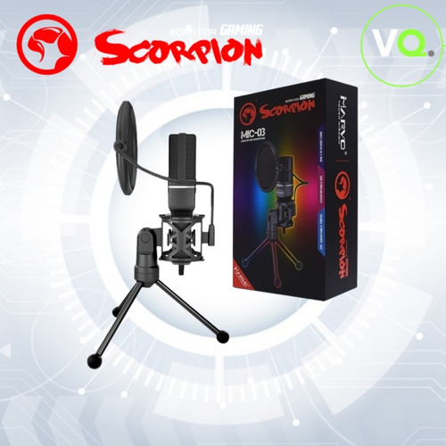 Imagen 1 de 5 de Microfono Marvo Usb De Escritorio Condensador Streamingmic03