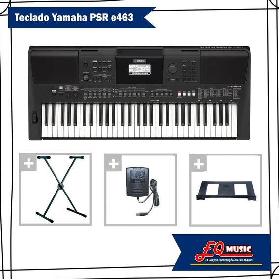 Teclado Piano Yamaha Psr E463 5/8 61 Teclas + Adapt + Soport