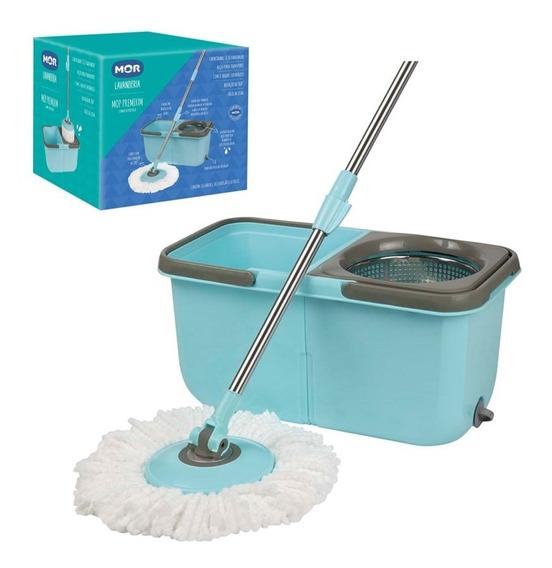 Esfregão Mop Premium 1 Refil Balde Inox Limpeza Prática Mor