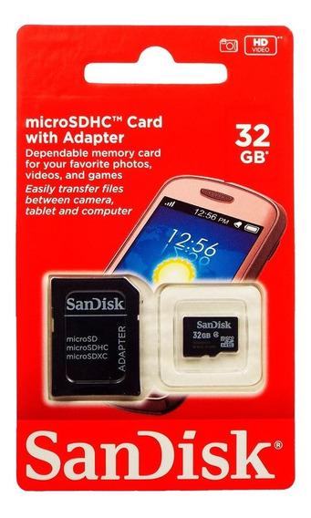 Cartão Micro Sd 32gb + Adaptador Para Moto G6 Plus