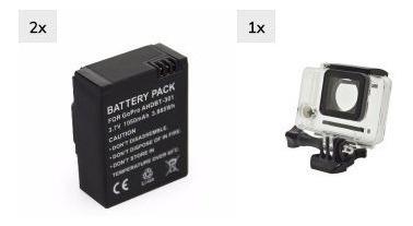 2 X Bateria Gopro Hero 3 3+ Caixa Estanque Impermeável