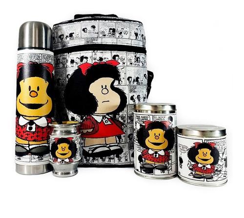 Imagen 1 de 8 de Equipo De Mate Completo Mafalda Regalo Cuero  Set Kit Matero
