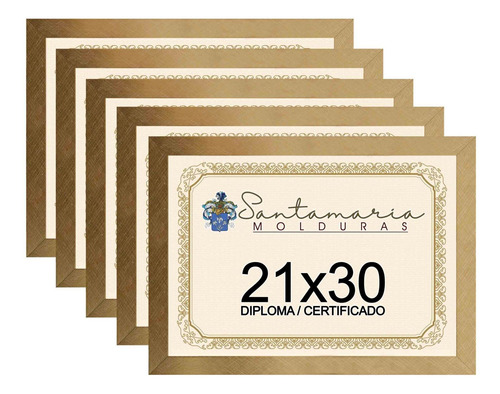 Kit 5 Molduras Porta Diploma Certificado 21x30 Dourado