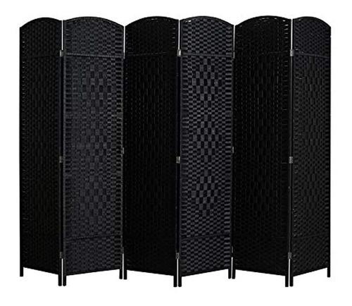 Imagen 1 de 7 de Biombo Plegable De Fibra Tejida Color Negro De 6 Paneles.