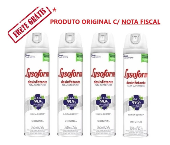 Lysoform Spray Original 360ml Kit Com 4 Unidades