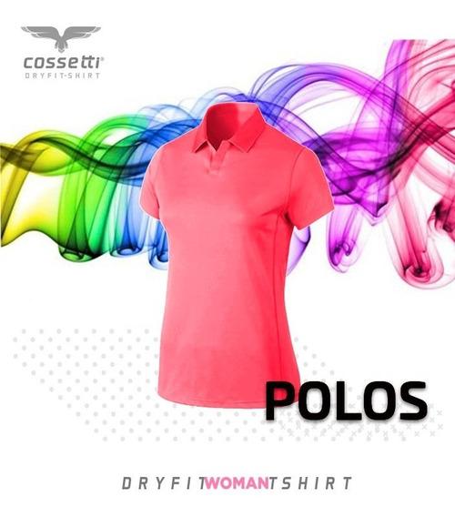 Playera Tipo Polo Cossetti Corta Dry Fit Colores Neón Xl 2xl