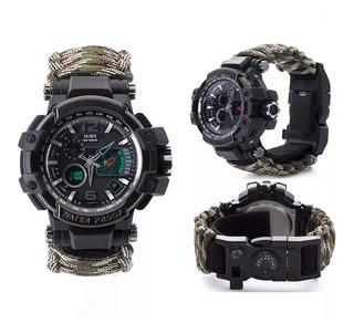 Relógio Tático Militar Sobrevivencia Camuflado
