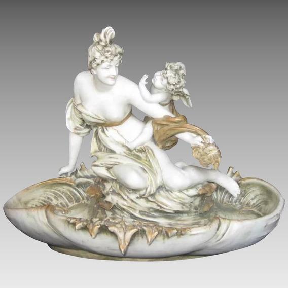 Antiguo Centro De Mesa Art Nouveau En Porcelana Amphora Aust