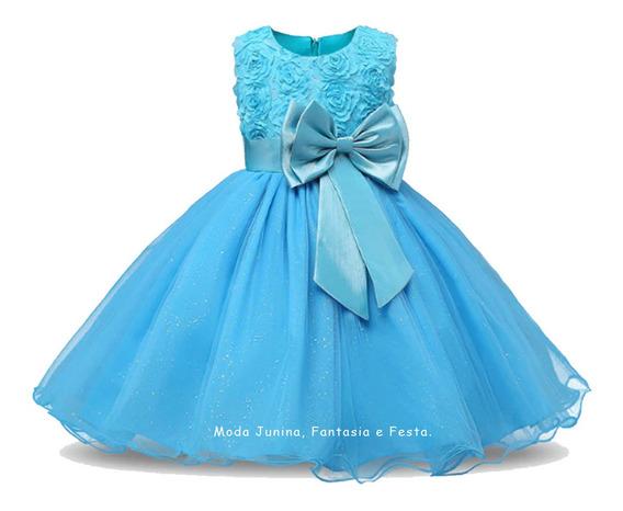 Vestido Festa Infantil Curto Princesa Azul - Daminha Formatura Batizado Aniversário