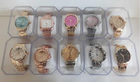 Kit Com 10 Relógios Feminino Dourado+caixas Atacado Revenda