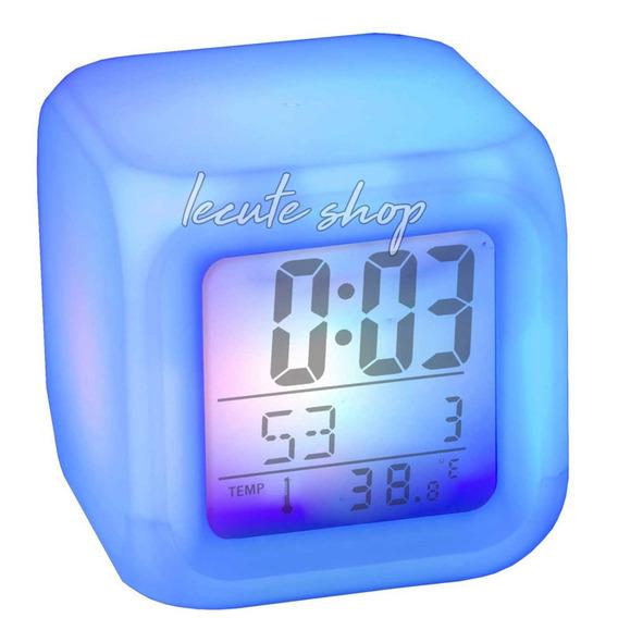 Reloj Despertador Luz Led Luminoso 7 Colores Neon Multicolor