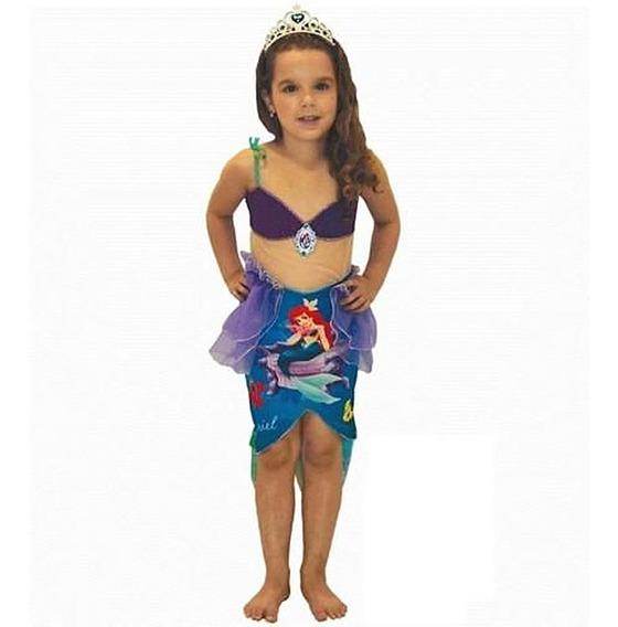 Roupa De Princesa Ariel Vestido + Coroa Infantil 1 A 2 Anos