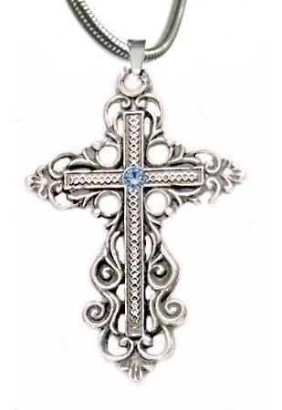 Corrente Cruz Medieval Com Cristal Pingente Cruz 4cm