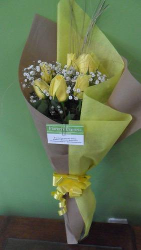 Ramo De 6 Rosas Amarillas Envio Gratis Floreria Foto Real