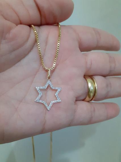 Colar Gargantilha Estrela Folheado Ouro 18k Zirconias