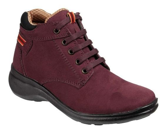 Zapato Unyk Dama Tipo Bota De Alta Comodidad Color Vino