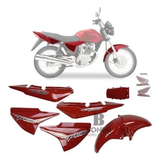 Kit Carenagem Cg 150 Titan 2008 Ks 08 Vermelha Com Adesivo