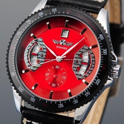 Relógio Vermelho Automático Masculino Calendário Couro