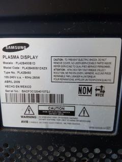 Tv Samsung Plasma 42 , Hd, Pl42b450b1d (por Partes)