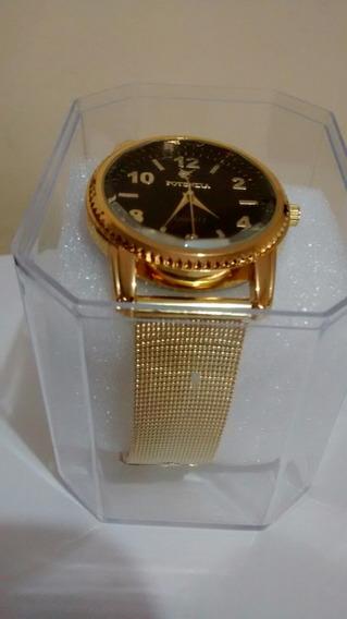 Relógio Feminino Dourado Luxo Moderno Delicado E Barato