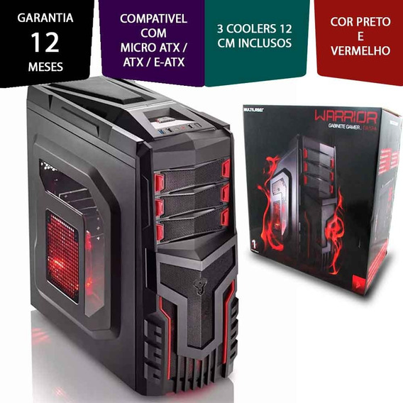 Gabinete Gamer Warrior Aço Laminado Transparente Com Led.